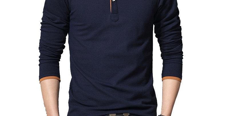 Cotton Patchwork Polo Long-Sleeve Shirt Men Plus Size