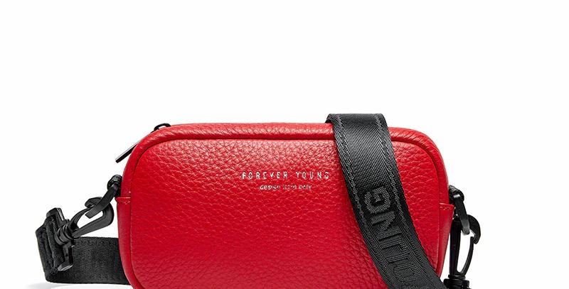 Genuine Leather Women Bag Wide Shoulder Strap