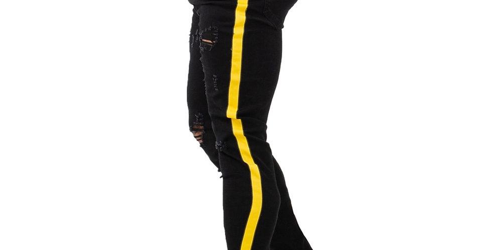 GINGTTO Black Skinny Jeans Homme Denim Stretch Slim Fit Jeans Male
