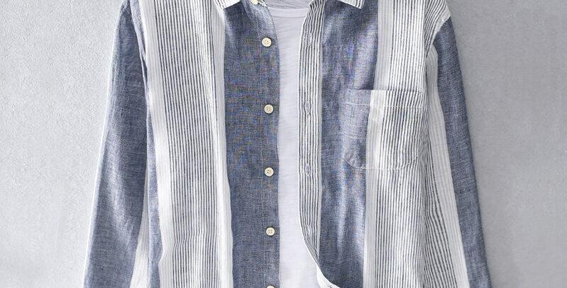 Striped Casual Long Sleeve Shirt Men Linen