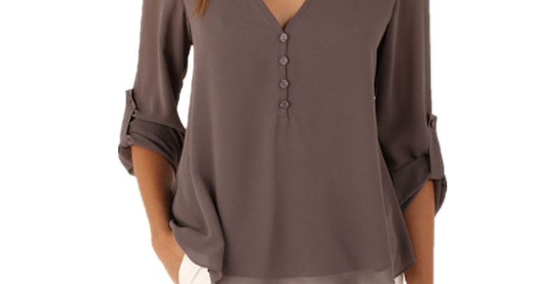 Jbersee  Summer Women Casual Slim  Long Sleeve Chiffon Blouse  Plus Size S-5xl