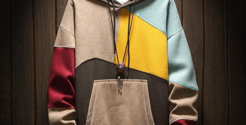 Hoodies Sweatshirts Men Patchwork Print Long Sleeve Hoodie Hip Hop Plus Size