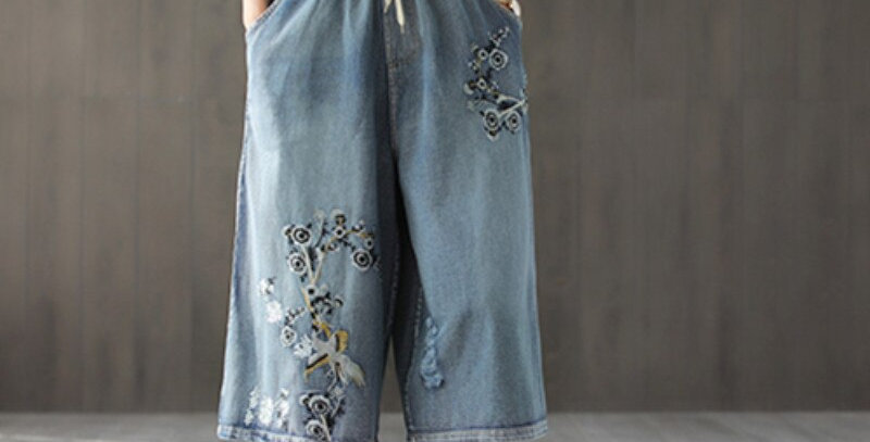 Drawstring Wide Leg Pants Denim