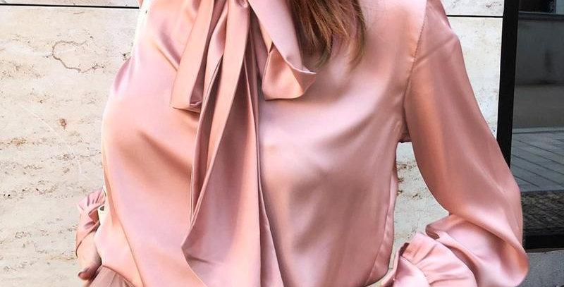 BerryGo Office Ladies Tie-Neck Women Blouse Shirt Summer Spring