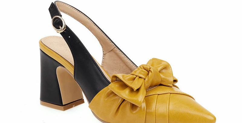 Shallow Bowknot Pu Leather High Heels Sandals