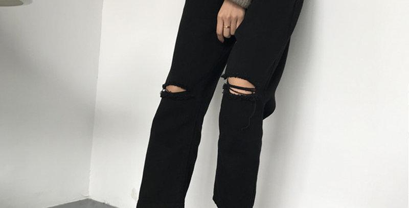 Jeans Women Ripped Hole High Waist Zipper Fly