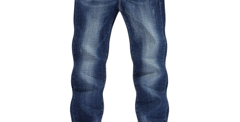 KSTUN Men Jeans Slim Straight Business Casual Dark Blue Thin Elasticity Cotton