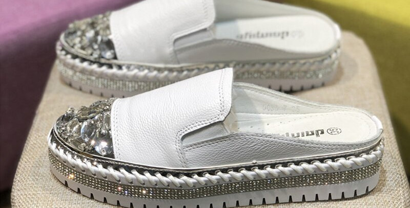 Genuine  Leather Silver Closed Toe Slides