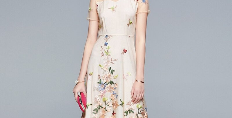 Embroidery Mesh Dress