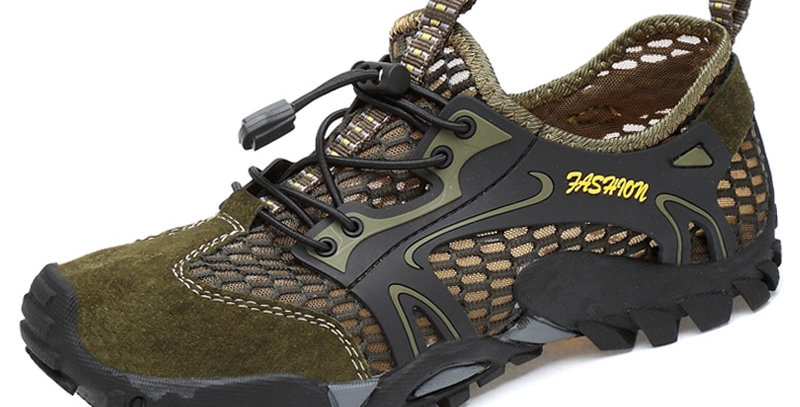Breathable Men Hiking Shoes Suede + Mesh Outdoor Quick-Dry Water Shoes