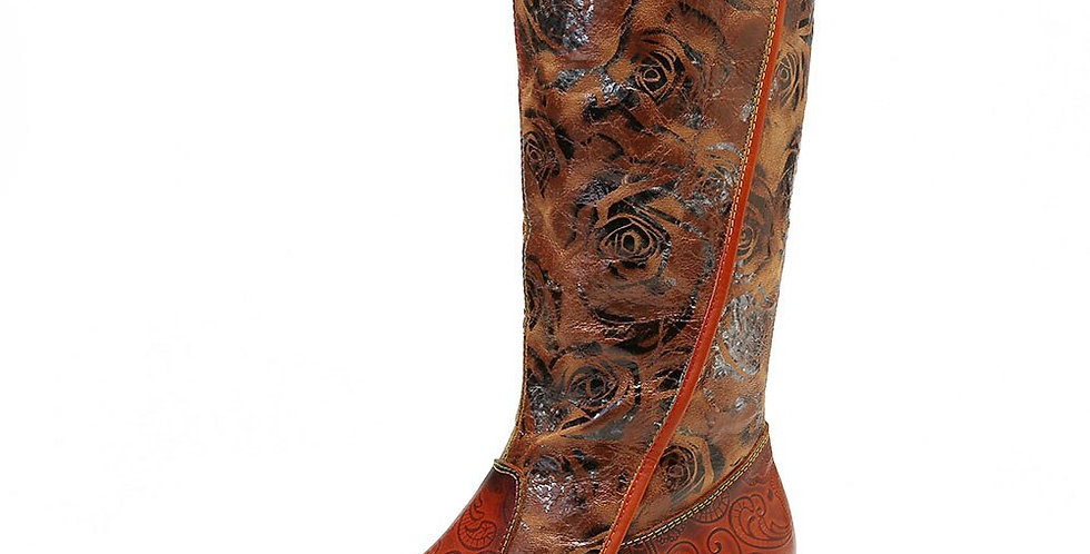 Painted Boots Rose Embossed Genuine Leather