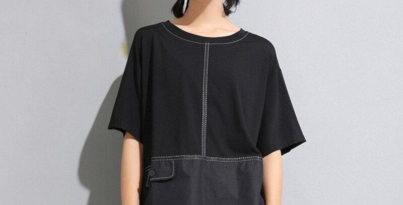 Black Button Loose Big Size T-Shirt Women