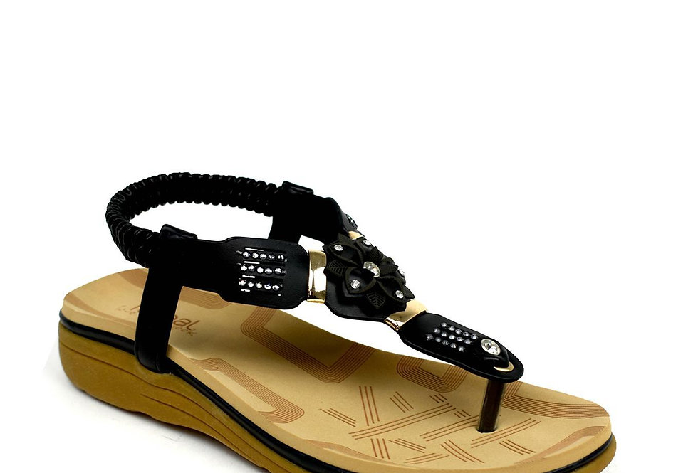 Flower Comfort Sandal Black