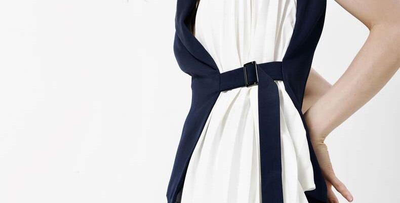 Contrast Color Pleated Asymmetrical Loose Fit Vest