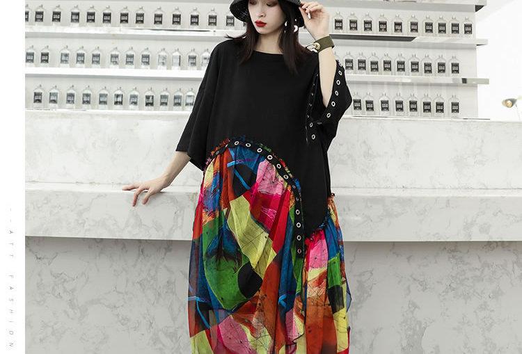 Chiffon Rivet Irregular Midi Dress