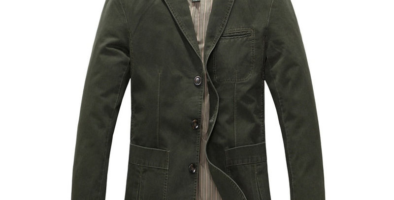 Shenrun Men Casual Blazer Jacket 100% Cotton  Breasted