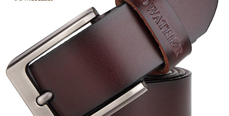 COWATHER Men Belt Cow Genuine Leather Vintage Male Strap for Jeans