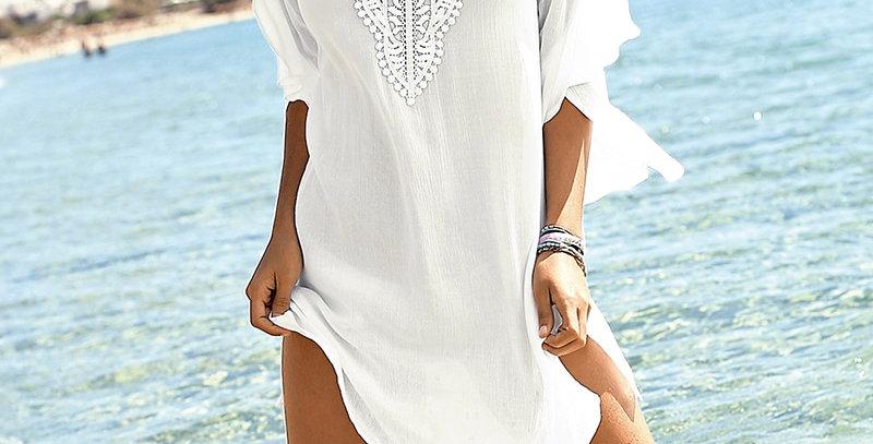 White Chiffon Lace Patchwork Ladies Mini Dress