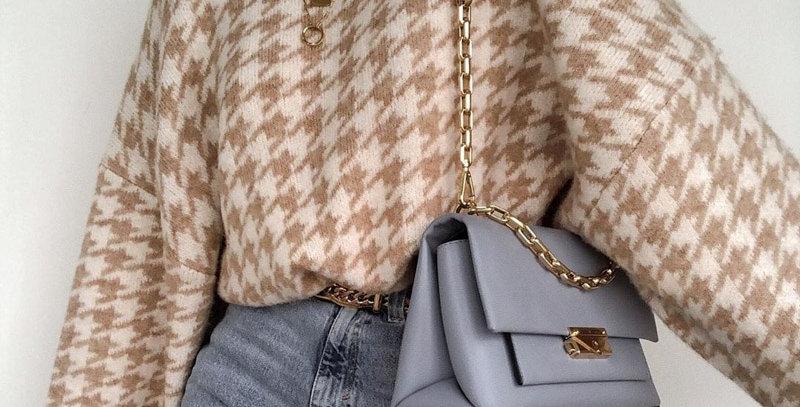 Geometric Khaki Knitted Sweater