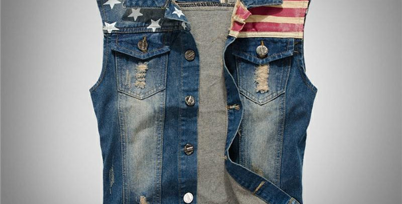 FALIZA Pleated Design Man Denim Vest   Jeans Jacket Men Sleeveless MJ