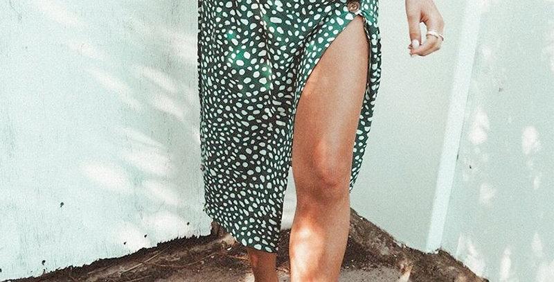 Conmoto High Waist Split Midi Skirts Women Green Leopard