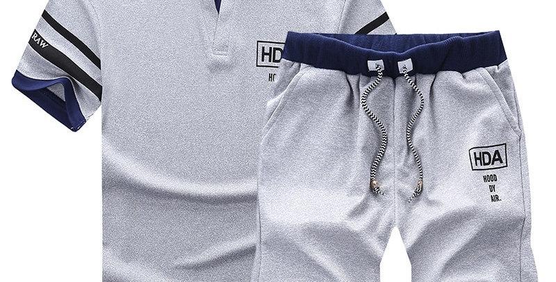 Men's  Sets Shorts + Short Sleeve T Shirt Men Beach Shorts