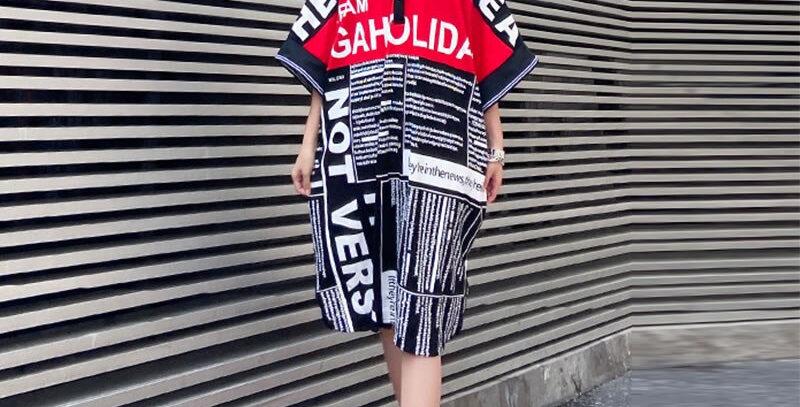 Letter Print Split Dress Plus Size