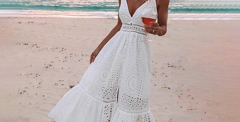 Embroidery Cotton White Summer Dress Women