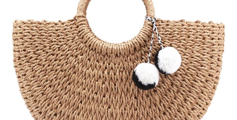 Handmade Bags Women Pompon Weaving Straw Bag