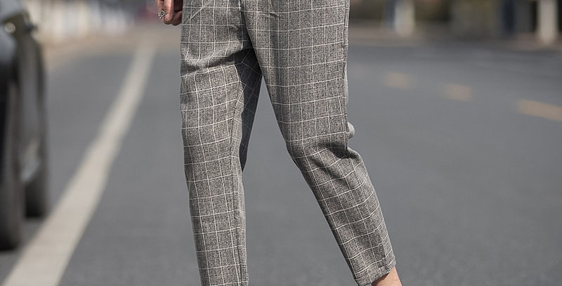 Casual Ankle-Length Plaid Pant