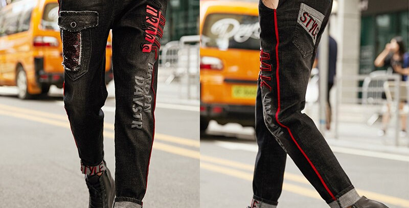 Punk Denim Trousers Women Embroidery Ripped Plus Size