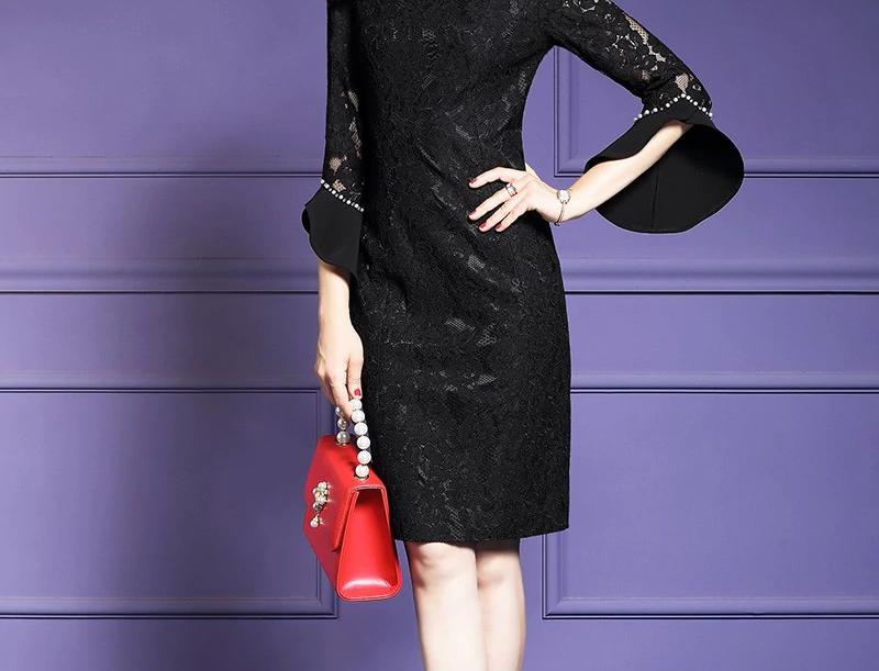 Women Designer Elegant Beading Lace Dress