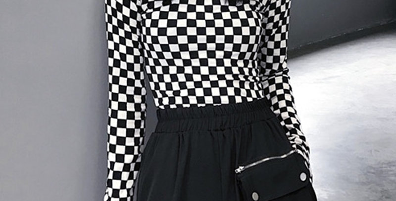 Black & White Checkered Mesh Top Long Sleeve Mock Neck Cropped