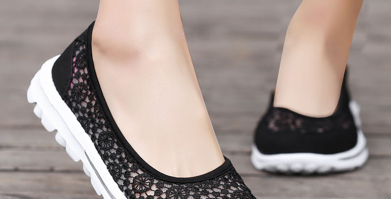 Hollow Lace Flat Shoes Shallow Boat Shoes Ladies Shoes
