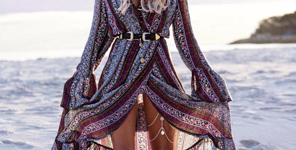 Casual Long Sleeve Floral Print Long Dress Plus Size