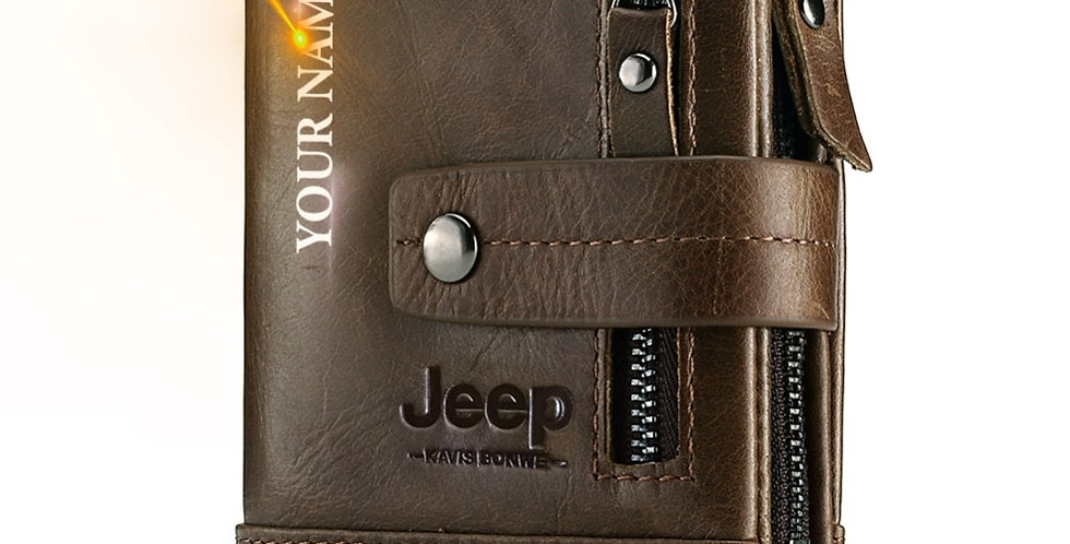 Free Engraving 100% Genuine Leather Men Wallet Coin Purse Small Card Holder