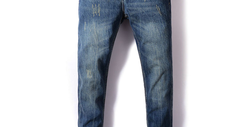 Men Jeans Straight Fit Blue Color Ripped Jeans Men Classical Denim