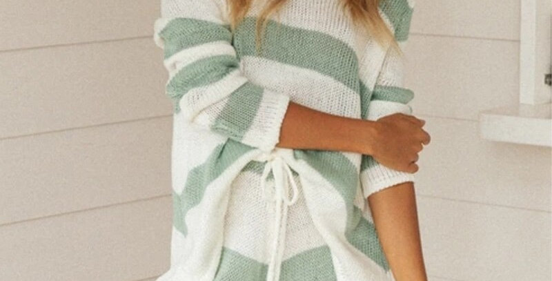 Knitted Stripe Women's Tracksuit Sets