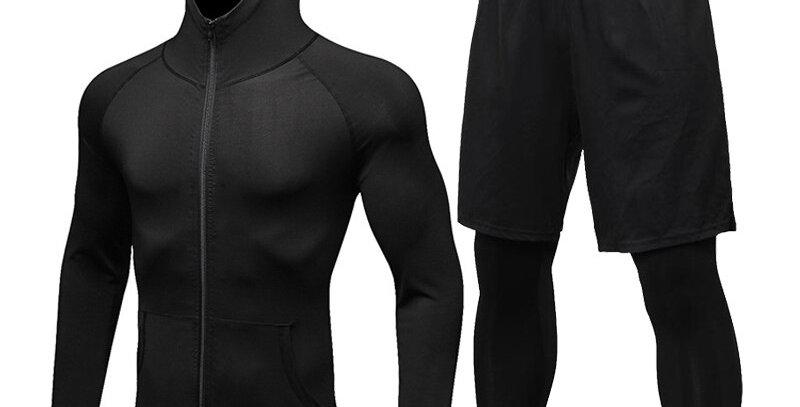 Men Sports Suit Gym Fitness Compression Clothes 2Pcs