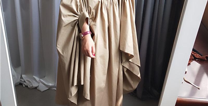 Women Oversize Pleated Big Hem Dress