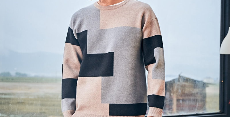 O Neck Patchwork Knitted Male Sweaters