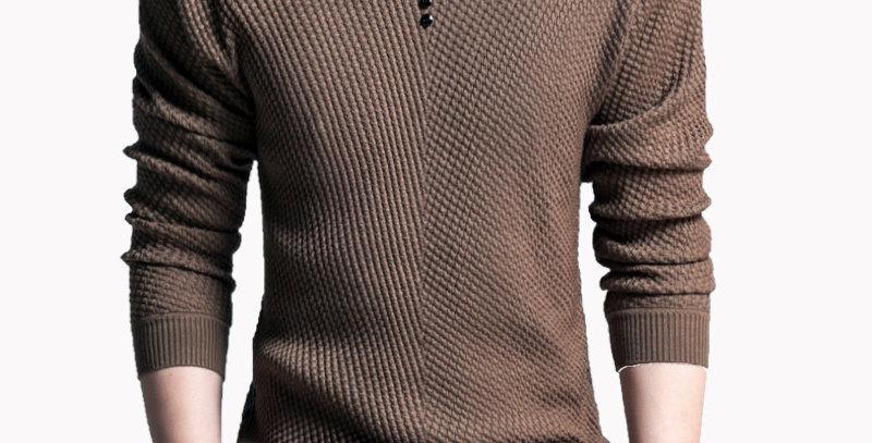 TFETTERS Men Sweater Casual V-Neck Pullover Men Spring Autumn Slim