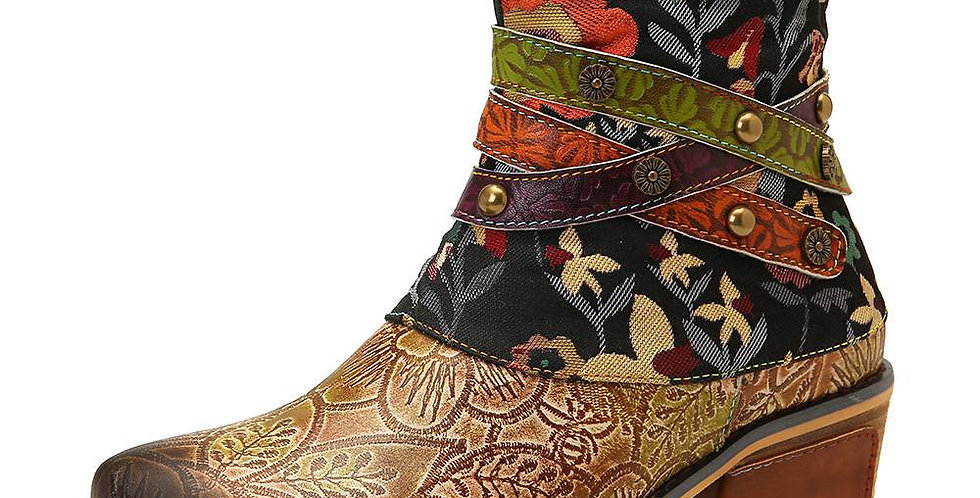 Retro Boots Low Heel Hand Printed Pattern Genuine Leather