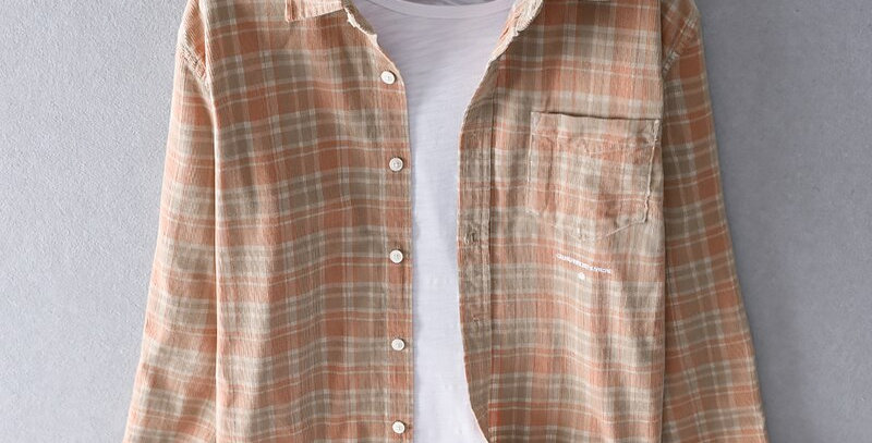 100% Cotton Long Sleeve Spring Plaid Shirts Men
