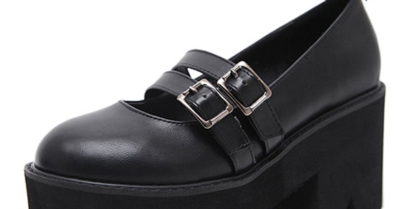 Gothic Shoes Ankle Strap High Chunky Heels Platform Punk