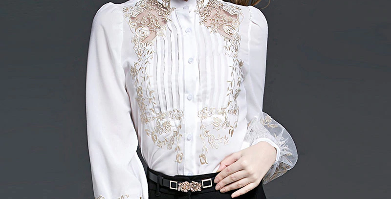 Floral Embroidery Long Sleeve Shirts