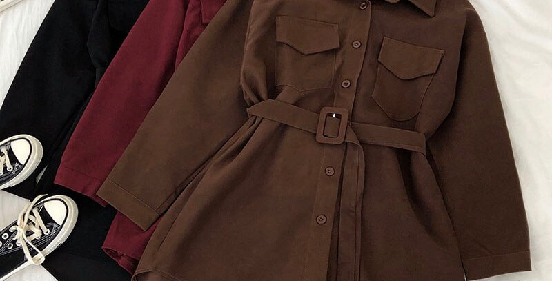 Corduroy Long Sleeve Shirt-Dress