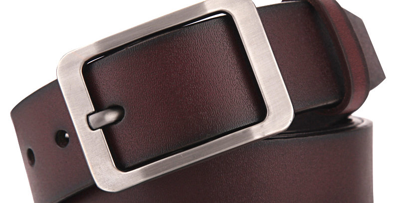 Leather Belt Men  Pin Buckle Cow Genuine Leather 130cm