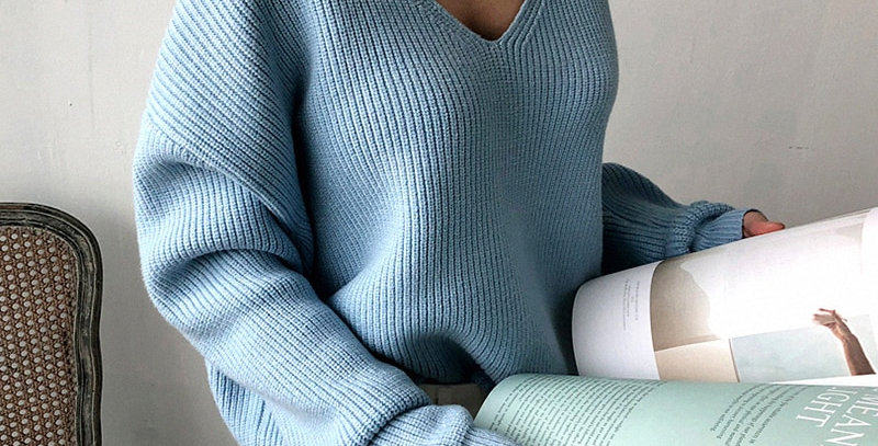 WOTWOY Autumn Winter Basic Knitted Sweater Women Jumpers