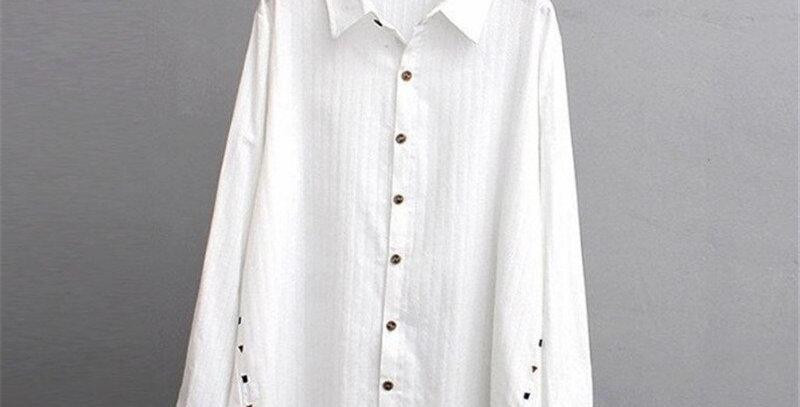White Cotton Blusas Plus Size